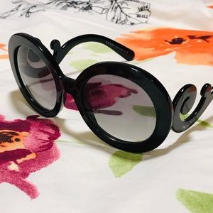 Prada Baroque Large Round Black Sunglasses